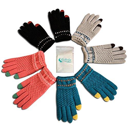Gellwhu Touch Screen Winter Outdoor Warm Knit Mitten Gloves 4 Pack for Women Men