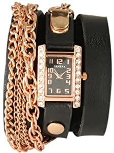 Square Triple Chain Wrap Watch-Black and Rose Gold