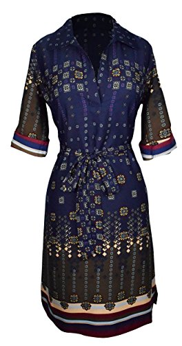Peach Couture Womens Multi Pattern V Neck Shift ¾ Sleeve Waist Tie Shift Dress XL Navy Maroon