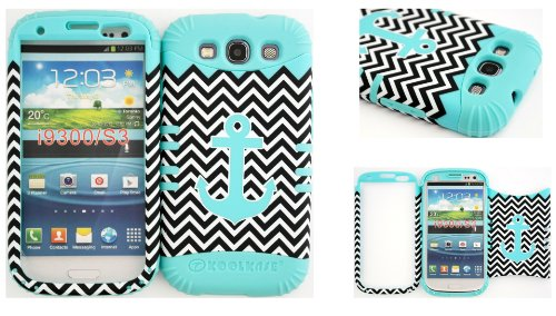 Hybrid Impact Rugged Cover Case Teal Anchor On Chevron Hard Plastic Snap On Over Baby Teal Silicone For Samsung Galaxy Slll S3 Fits Sprint L710, Verizon I535, At&T I747, T-Mobile T999, Us Cellular R530, Metro Pcs And All front-628758