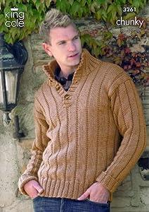 King Cole Mens Sweater, Gilet, Scarf & Hat Merino Chunky Knitting Pattern...