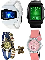 Pappi Boss Analogue-Digital Multi-Colour Dial Women's Watches -Coupe Watches Offer Combo