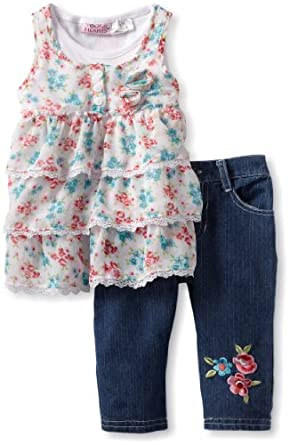 Young Hearts Little Girls' 2 Piece Floral Ruffle Denim Capri Set, White, 2T