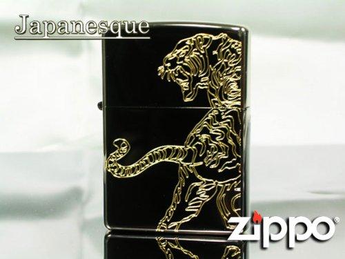 Zippo lighter * Zippo (regular) * Japanese pattern equity Tiger black Nickel × Gold cuttings Tiger