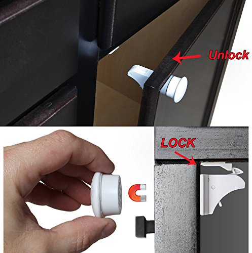 GR Group 8 Locks + 2 Keys Magnetic - Child Safety Locks Cabinet And Drawer, White - Bonus: Free Ebook Cabinet Drawer Accessories