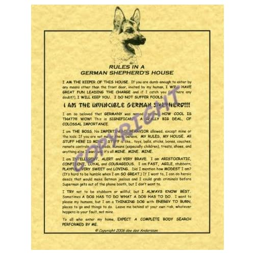 Amazon.com - Rules In A German Shepherd's House - Prints