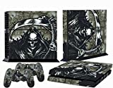 PS4 Designer Skin for Sony PlayStation 4 Console System plus Two(2) Decals for: PS4 Dualshock Controller - Reaper Black