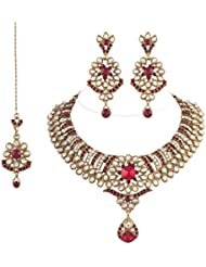 I Jewels Traditional Gold Plated Kundan Necklace Set With Maang Tikka For Women(Maroon)(K7024M)
