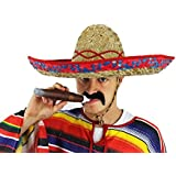 LADIES MEXICAN RED SOMBRERO + MOUSTACHE + JUMBO CIGAR NOVELTY FANCY DRESS ACC...