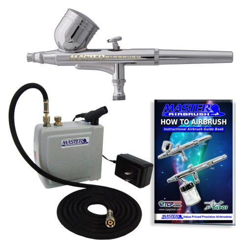 Master Airbrush® Brand Model G22 Airbrushing System with Model C16-W Gray Portable Mini Airbrush Air Compressor-The Complete Set Now Includes a (FREE) How to Airbrush Training Book to Get You Started