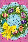 Easter Egg Wreath Garden Flag Floral Jelly Beans 12.5