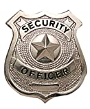 "Silver / Nickel Full Size Metal Security Guard OFFICER Star Center Badge Shield 2-1/2"" x 2-1/4"""