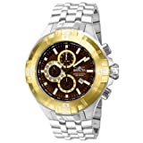 Invicta Mens Reef Pro Diver XXL Chronograph Brown Dial Gold Tone Bezel Bracelet Watch 12361