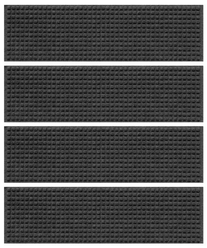Bungalow Flooring 8-1/2 by 30-Inch Indoor and Outdoor Waterguard Stair Treads, Set of 4, Charcoal