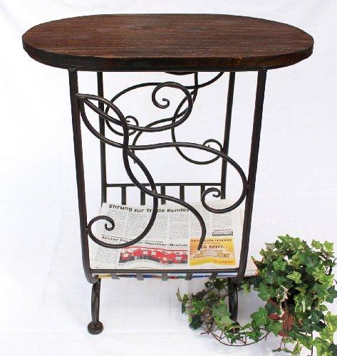 """Zeitungsständer """"Cuba"""" HX12989 aus Metall und Holz 65cm Beistelltisch Tisch"""