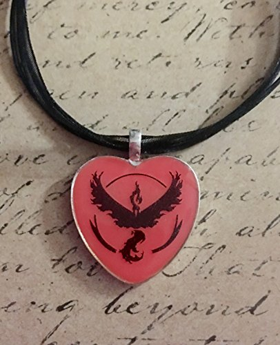 Pokemon Go Inspired Team Valor Pink To Red Glow In The Dark Heart Shaped Pendant With Ribbon and Cord Necklace, With Free Matching Vinyl Decal