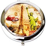 Ladies Eiffel Tower Inspired Magnifying Vanity Make Up Pocket Bag Mirrors