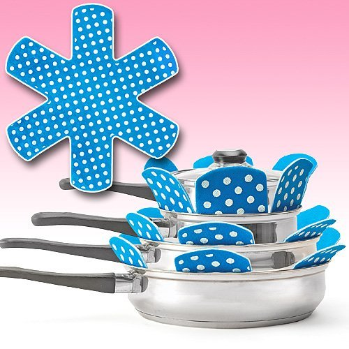 PADDED POT AND PAN PROTECTORS (SET OF 6) BLUE (Blue Pot And Pans compare prices)