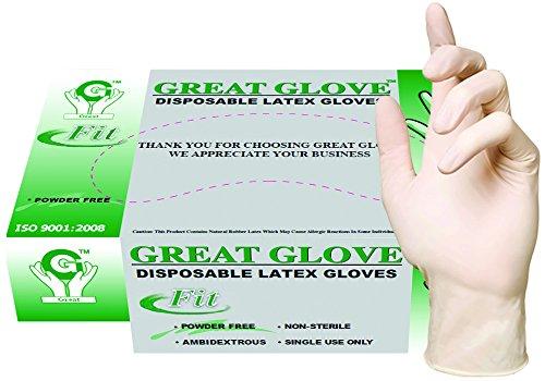 GREAT GLOVE 20010 fit-M-BX PSG Latex Powder-Free fit, 4.5-5 mil, General Purpose Glove, Natural (Pack of 100)