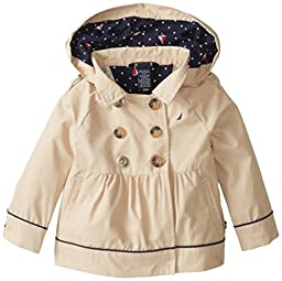 Nautica Baby Girls\' Classic Hooded Trench Coat, Tan, 12 Months