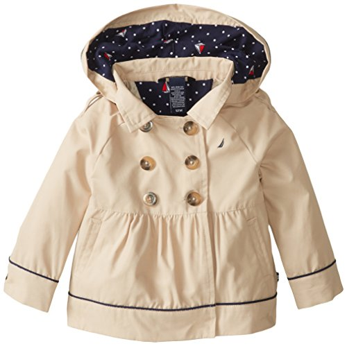 Nautica Baby Girls' Classic Hooded Trench Coat, Tan, 12 Months