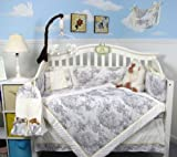 SOHO White & Charcoal French Toile Crib Nursery Bedding Set 14 pcs