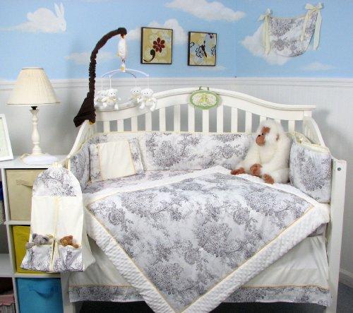 SOHO White & Charcoal French Toile Crib Nursery Bedding Set 14 pcs image