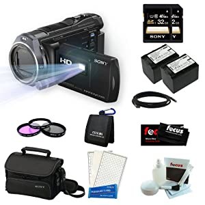 Sony HDR-PJ650V Handycam 32GB Full HD Camcorder with Projector Bundle with Two Sony 32GB Memory Cards + Two Wasabi Power Replacement Batteries for NP-FV70 + 3pc Filter Set and Accessory Kit
