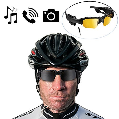 BlueLotus® Hifi Stereo Bluetooth 4.1 Sunglasses (Polarized Black+Yellow Lens) Headset, Music Glasses Supports Music, Handfree Calls, Camera Shutter Remote for iPhone 5 SE 6s Plus for Driving, Cycling