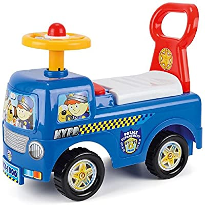 Childs Toddler Ride On Car Push Along Fire Engine Police Truck Toy Storage Box - Police Truck