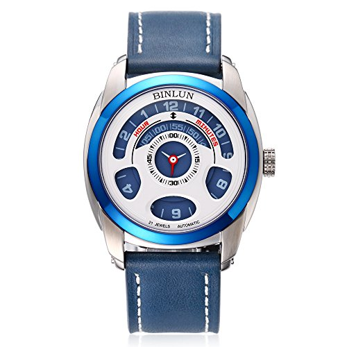 Binlun-Mens-Blue-Japanese-21-Jewel-Automatic-Mechanic-Unique-Futuristic-Design-Leather-Strap-Watch