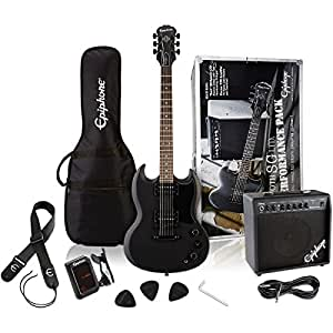 Epiphone SG Performance Solid Body Electric Guitar package, Pitch Black Satin Finish