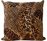 Naree Leopard Faux Fur Pillow 18″ X 18″ Decorative Pillow Cover Scene Jungle – With Scarf