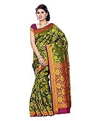 Mimosa Women Kanchipuram Art Silk Saree With Plain Blouse (Multi-Coloured ,3177-R6-DOLIVE-MRN)