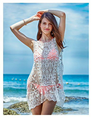 457f49cde09 MG Collection Lace Sheer Swimsuit Cover Up, Tank Top Short Beach Dress,  White
