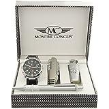 Montre-Concept coffret cadeau montre Homme avec briquet , couteau multifonction et stylo référence CBCA765-NOIR-NOIR
