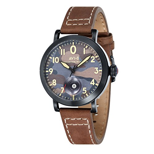 Avi-8 Lancaster Men's Quartz Watch with Multicolour Dial Analogue Display and Brown Leather Strap AV-4020-06