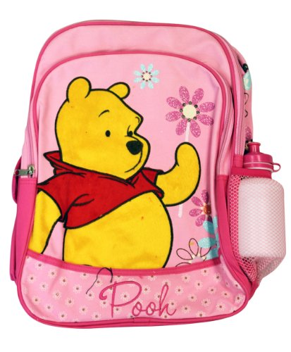 Full Size Pink Winnie The Pooh Backpack With Water Bottle - Winnie The Pooh Bookbag