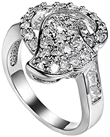 buy Beydodo 18K Gold Plated Rings (Wedding Bands) For Women Unique Trigon Stars Shape Inlay Us Size 9 White