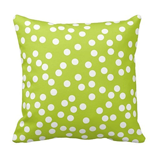 Lime Green and White Polka Dot Pillow Pillowcase for Sofa 18
