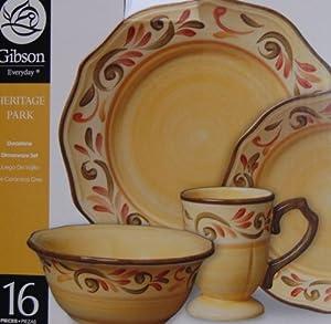 Gibson Heritage Park 16 Piece Stoneware Reactive Glaze Dinnerware Set by Gibson