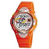 Pasnew LED étanche à 100m Sport Montre numérique pour enfants Filles Garçons (Orange)