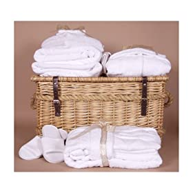 bath robes, towels, and basket