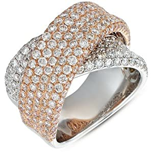 14k 3.54 Dwt Diamond White and Pink Gold Pave Band Ring - JewelryWeb