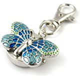 Youyoupifa Gorgeous Key Chain Ring With Butterfly Pendent Pocket Quartz Watch (Blue)