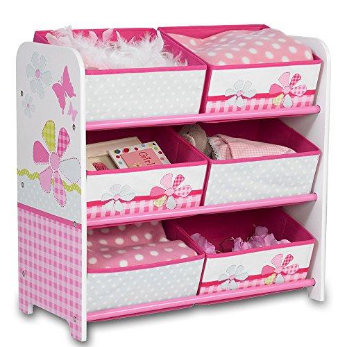 Aufbewahrungsregal – Spielzeugkiste – Kinderregal – Regal 6 Boxen Mädchen und Jungs mit Motivwahl