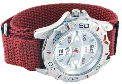 Mens Silver Terrain Boardrider Sports Surf Watch-Velcro Strap+Rotating Bezel-50m Water Resistant-1304g