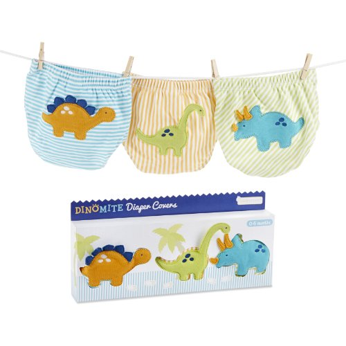 Baby Aspen, DinoMite 3-Piece Diaper Cover Gift Set, 0-6 Months