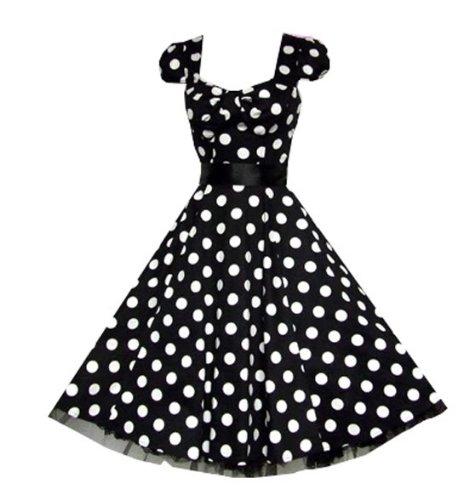 Pretty Kitty Fashion 50s Groß Schwarz Weiß Polka Dot Cocktail Tee ...