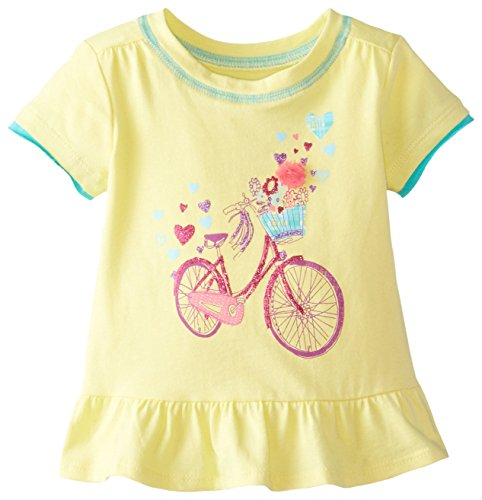 The Children's Place Baby Girls' Short Sleeve Peplum Top, Lemon Juice, 18 24 Months